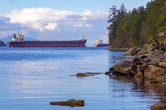 Nanaimo hamn och Georgia Strait från Jack Point i den Vancouver ön arkivfoto