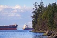 Nanaimo hamn och Georgia Strait från Jack Point i den Vancouver ön arkivbild