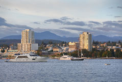 Nanaimo Morning, Water View, British Columbia. Waterfront condominiums overlook the harbor and marina in Downtown Nanaimo, British Columbia, Canada Stock Photography