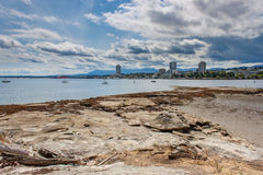 Nanaimo Skyline From Newcastle Island. A view of the Nanaimo skyline and harbour from Newcastle Island stock photos