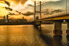 Nanchang Bayi Bridge. Bayi Bridge is the first cable stayed bridge in Jiangxi Province, and the longest cable stayed bridge in Nanchang City, Jiangxi province royalty free stock images
