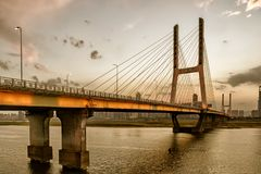 Nanchang Bayi Bridge. Bayi Bridge is the first cable stayed bridge in Jiangxi Province, and the longest cable stayed bridge in Nanchang City, Jiangxi province stock image