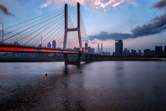 Nanchang Bayi Bridge. Bayi Bridge is the first cable stayed bridge in Jiangxi Province, and the longest cable stayed bridge in Nanchang City, Jiangxi province royalty free stock image