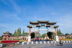 The Tengwang pavilion in Nanchang. Nanchang, Jiangxi province, China - September 2017 : Area in front of The Tengwang pavilion in nanchang, one of the four royalty free stock image