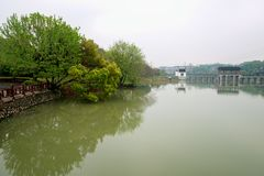 A quiet lake-Nanchang Mei Lake Scenic Area. Nanchang Mei Lake scenic spot in detail, refined garden, curved Pavilion, platform and other types of gardens stock image
