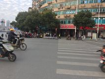 Nanchang street, crossroads. Nanchang streets, intersections, continuous flow of people and vehicles, January 13, 2018 royalty free stock photo
