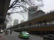 Viaduct outside. Nanchang streets, intersections, continuous flow of people and vehicles, January 14, 2018 stock photo