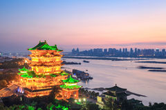 Nanchang-tengwang Pavillon im Sonnenuntergang Lizenzfreie Stockfotos