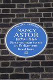 Nancy Astor Blue Plaque in London Royalty Free Stock Photos