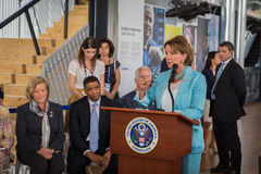 Nancy Pelosi making a speech at Expo 2015 in Milan, Italy Royalty Free Stock Images