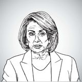 Nancy Pelosi Vector Portrait Drawing-Illustration San Francisco, am 29. Dezember 2017 Lizenzfreies Stockfoto