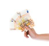 Nand держа валюту счетов евро денег Стоковое Фото