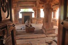 Nandi inside a Indian hindu temple, Badami Stock Image