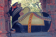 Nandi at Sangameshwar Temple Stock Photo