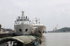 Nanfeng survey ship and 302 fishery administration ship in China.  Royalty Free Stock Photo