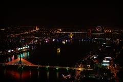 Nang Da освещает вид на город на ноче Стоковые Изображения RF