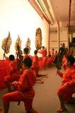 Nang Yai kukieł cienia sztuka przy Wata Khanon muzeum narodowym, Ratcha Buri Tajlandia Obrazy Stock