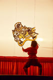 Nang Yai kukieł cienia sztuka przy Wata Khanon muzeum narodowym, Ratcha Buri Tajlandia Zdjęcia Royalty Free