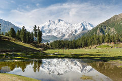 Riflessione di Nanga Parbat, Himalaya, Pakistan Immagine Stock