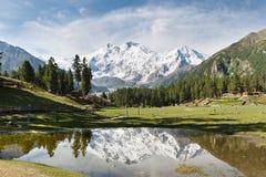 Nanga Parbat reflexion, Himalaya, Pakistan Fotografering för Bildbyråer
