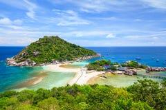 Nangyuan ö, Suratthani som är sydlig av Thailand Royaltyfria Foton
