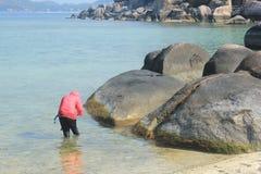 Nangyuan Island. April 8, 2014 Tourist attractions on White Sand Beach at Koh Nangyuan Surat Thani, Thailand royalty free stock image