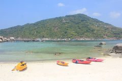 Nangyuan Island. April 8, 2014 Tourist attractions on White Sand Beach at Koh Nangyuan Surat Thani, Thailand royalty free stock photography