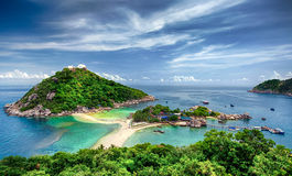 NangYuan and Tao island. View point from top of mountain for see the beach, sea and nature of NangYuan and Tao island Stock Photos