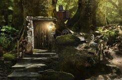 Nani ed elfi dell'alloggio in una foresta magica Fotografie Stock Libere da Diritti