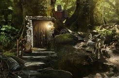 Nani ed elfi dell'alloggio in una foresta magica Fotografia Stock