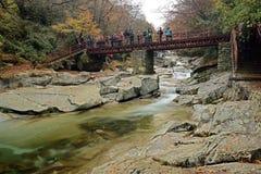Nanjiang China-A stroom in Guangwu moutain in de herfst Stock Foto
