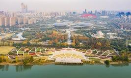 Nanjing Binjiang Park. Binjiang Park is located on Yangzijiang Avenue, Jianye District, Nanjing, Jiangsu province. Here you can feel the combination of movement stock photography
