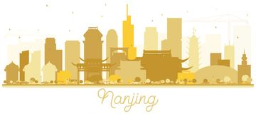 Nanjing China skyline Golden silhouette. Vector illustration. Simple flat concept for tourism presentation, banner, placard or web site. Nanjing Cityscape with vector illustration