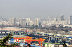 Nanjing China. A traffic jam in the city of Nanjing China seen from Yuhuatai Park in Jiangsu province Royalty Free Stock Photo
