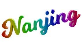 Nanjing City-Name kalligraphisches 3D machte Text-Illustration gefärbt mit RGB-Regenbogen-Steigung Stockbilder