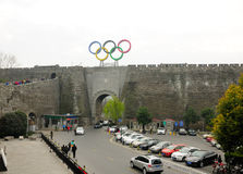 Nanjing city wall and Olympic rings China Royalty Free Stock Photography