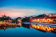 Nanjing confucius temple in nightfall Stock Photography