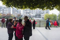 The nanjing crowd square dance. Many elderly people in nanjing, jiangsu province, in parks, citizens and other vacant lots for square dancing. Enrich old age Stock Photos