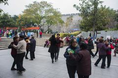The nanjing crowd square dance. Many elderly people in nanjing, jiangsu province, in parks, citizens and other vacant lots for square dancing. Enrich old age Royalty Free Stock Photos
