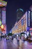 Nanjing East Road shopping street at night, Shanghai, China Royalty Free Stock Images