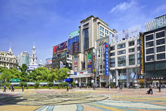 Nanjing East Road shopping street on a summer day, Shanghia, China Royalty Free Stock Photography