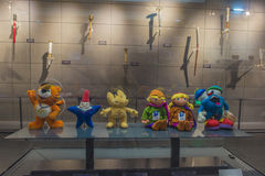 Nanjing Green Austria second-hand museum on display of the green mascot. Nanjing youth Olympic Games mascots lele, rain flower stones, for the creative source stock photography