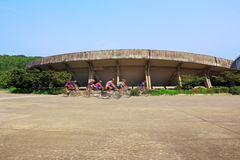 Nanjing Institute of Sport cycling trainers outside the museum Royalty Free Stock Photo