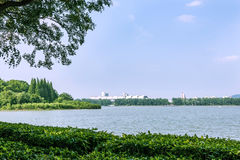 Nanjing international exhibition center and Xuanwu lake Royalty Free Stock Image