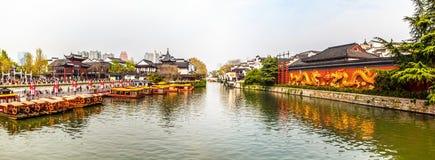 Nanjing Konfucius tempel (Fuzi Miao) och Qinhuai flod Royaltyfria Bilder