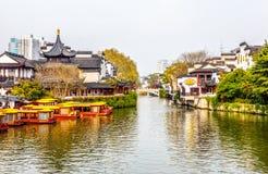 Nanjing Konfucius tempel (Fuzi Miao) och Qinhuai flod Arkivfoto