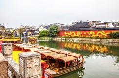 Nanjing Konfucius tempel (Fuzi Miao) och Qinhuai flod Fotografering för Bildbyråer