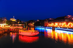 Nanjing Konfucius tempel på natten Royaltyfri Foto