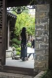 Bride photographing wedding photos in scenic area. Nanjing Laomen East Area of Qinhuai District of Nanjing has the characteristics of old Nanjing. Every day royalty free stock photo