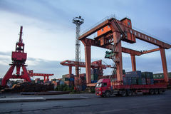 Nanjing Port Royal mechanical loading Stock Photo